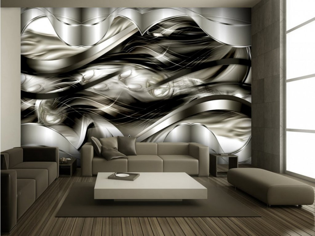 Abstraktní tapeta Kouzelné vlny (Rozměry (š x v) a Typ 147x105 cm - samolepící)