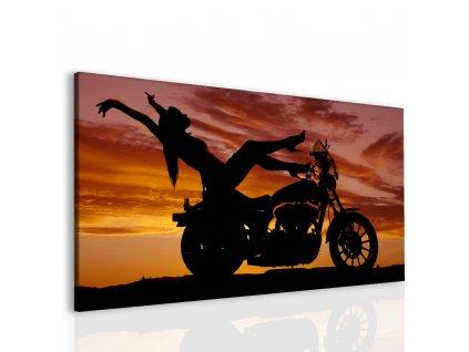 Sexy žena na motorce (Velikost (šířka x výška) 110x60 cm)
