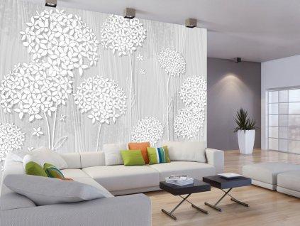 Tapeta Bílé květy na dřevě (Rozměry (š x v) a Typ 147x105 cm - samolepící)