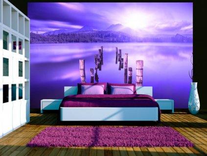 Tapeta fialové jezero (Rozměry (š x v) a Typ 147x105 cm - samolepící)