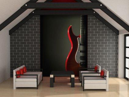 Tapeta kytara - červená (Rozměry (š x v) a Typ 147x116 cm - samolepící)