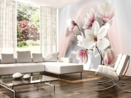 Tapeta magnolie v růžové (Rozměry (š x v) a Typ 147x105 cm - samolepící)