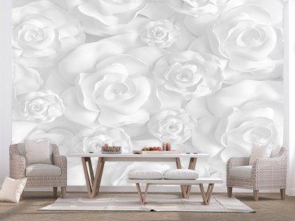 Bílé růže 3D tapeta (Rozměry (š x v) a Typ 147x105 cm - samolepící)