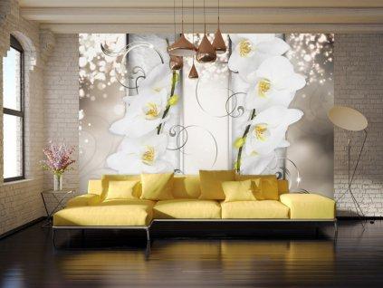 Tapeta orchidej na zlatě (Rozměry (š x v) a Typ 147x105 cm - samolepící)