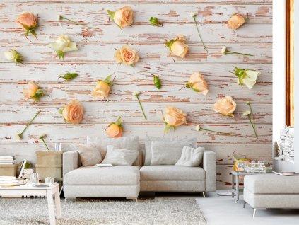 Tapeta stěna růží (Rozměry (š x v) a Typ 147x105 cm - samolepící)