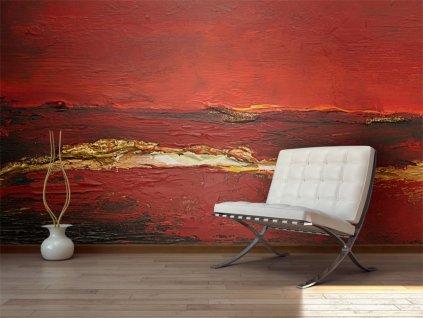 Tapeta zlatočervená malba (Rozměry (š x v) a Typ 147x116 cm - samolepící)