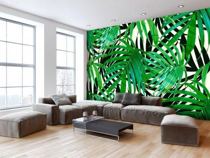 Tropické listy (Rozměry (š x v) a Typ 147x105 cm - samolepící)