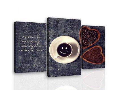 Třídílný obraz káva s úsměvem (Velikost 130x100 cm)