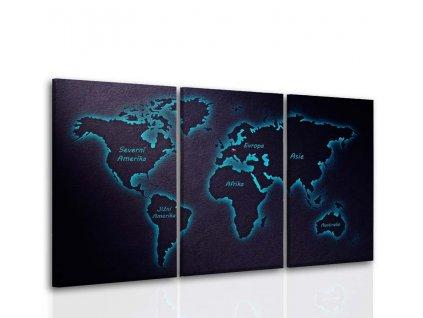 Třídílný obraz mapa světa (Velikost 120x70 cm)