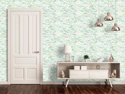 Zelené vlny (Klasické tapety 49x1000 cm - samolepicí)