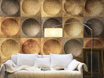 Zlaté kruhy (Klasické tapety 49x1000 cm - samolepicí)