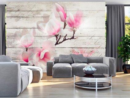 Tapeta magnolie na dřevě (Rozměry (š x v) a Typ 147x105 cm - samolepící)