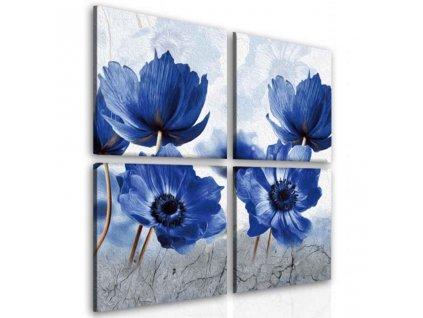 Čtyřdílný obraz modrý mák (Velikost (šířka x výška) 100x100 cm)