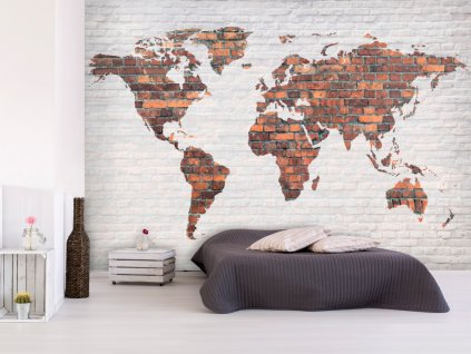 Cihlová mapa světa (Rozměry (š x v) a Typ 147x105 cm - samolepící)