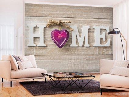 Tapeta srdce domu fialové (Rozměry (š x v) a Typ 147x105 cm - samolepící)