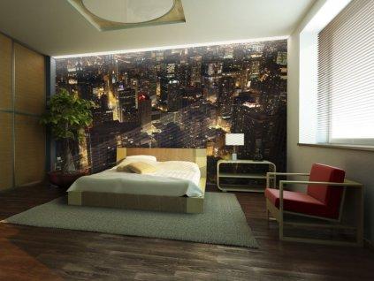 Tapeta Noční ulice Chicaga (Rozměry (š x v) a Typ 147x116 cm - samolepící)