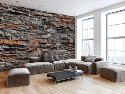 Elegantní šedohnědý kámen (Rozměry (š x v) a Typ 147x105 cm - samolepící)