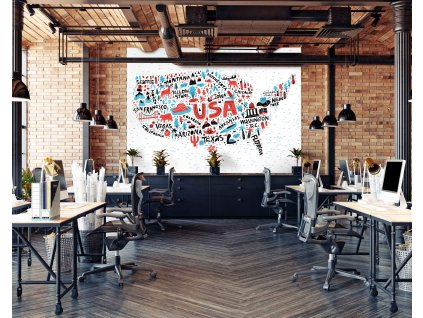 graficka mapa USA interier
