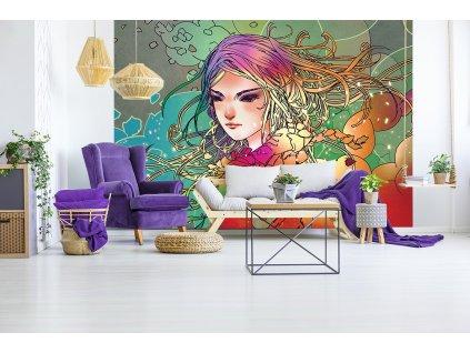 Tapeta Abstraktní dívka, secesní styl interier
