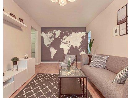 Tapeta hnědá mapa interior 1199502760
