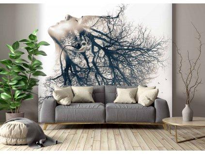 Tapeta Dvojexpozice žena strom