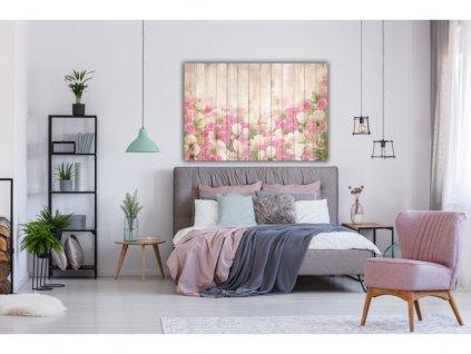 Obraz Růže a tulipány na dřevě