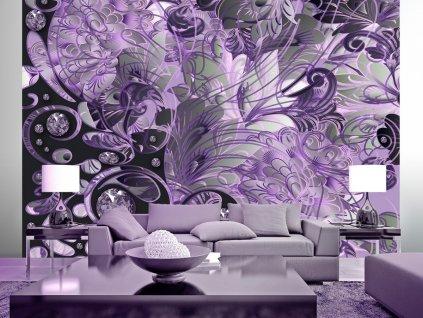 Tapeta diamantové květy - fialová
