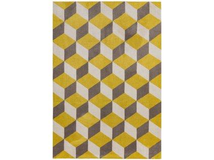 Moderní kusový koberec Fugali AR09 Yellow Block