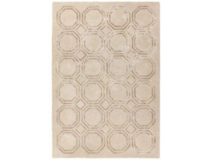 Luxusní jednobarevný kusový koberec Rapun Octagon Beige