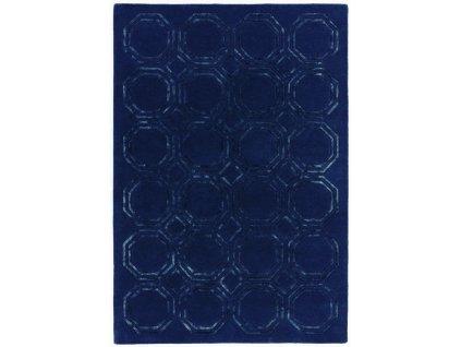 Luxusní jednobarevný kusový koberec Rapun Octagon Navy