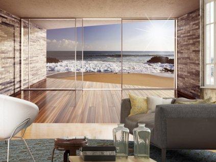 Fototapeta okna s výhledem na pláž II. (Rozměry (š x v) a Typ 147x105 cm - samolepící)