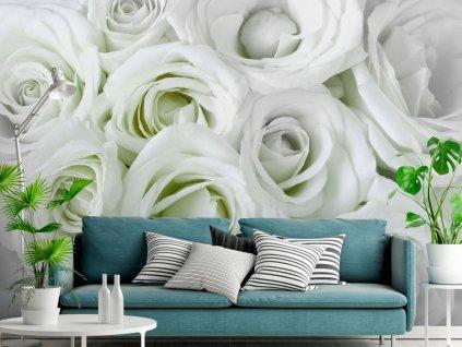 Tapeta Bílozelené růže