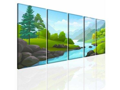 Kreslený obraz příroda (Velikost (šířka x výška) 150x70 cm)
