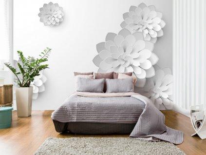 3D tapeta - Bílá zahrada (Rozměry (š x v) a Typ 147x105 cm - samolepící)