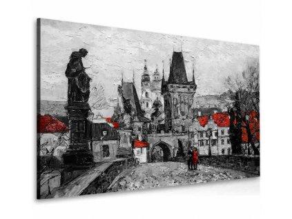 Obraz procházka po Karlově mostě červená (Velikost (šířka x výška) 110x75 cm)