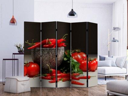 Paraván červená kuchyně (Velikost 225x172 cm)