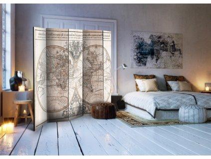 Paraván hydrografická mapa světa (Velikost 225x172 cm)