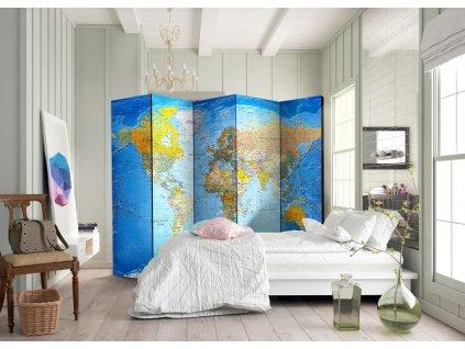 Paraván klasická mapa světa (Velikost 225x172 cm)