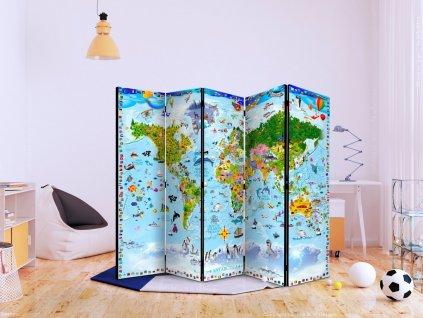 Paraván mapa světa pro děti (Velikost 225x172 cm)