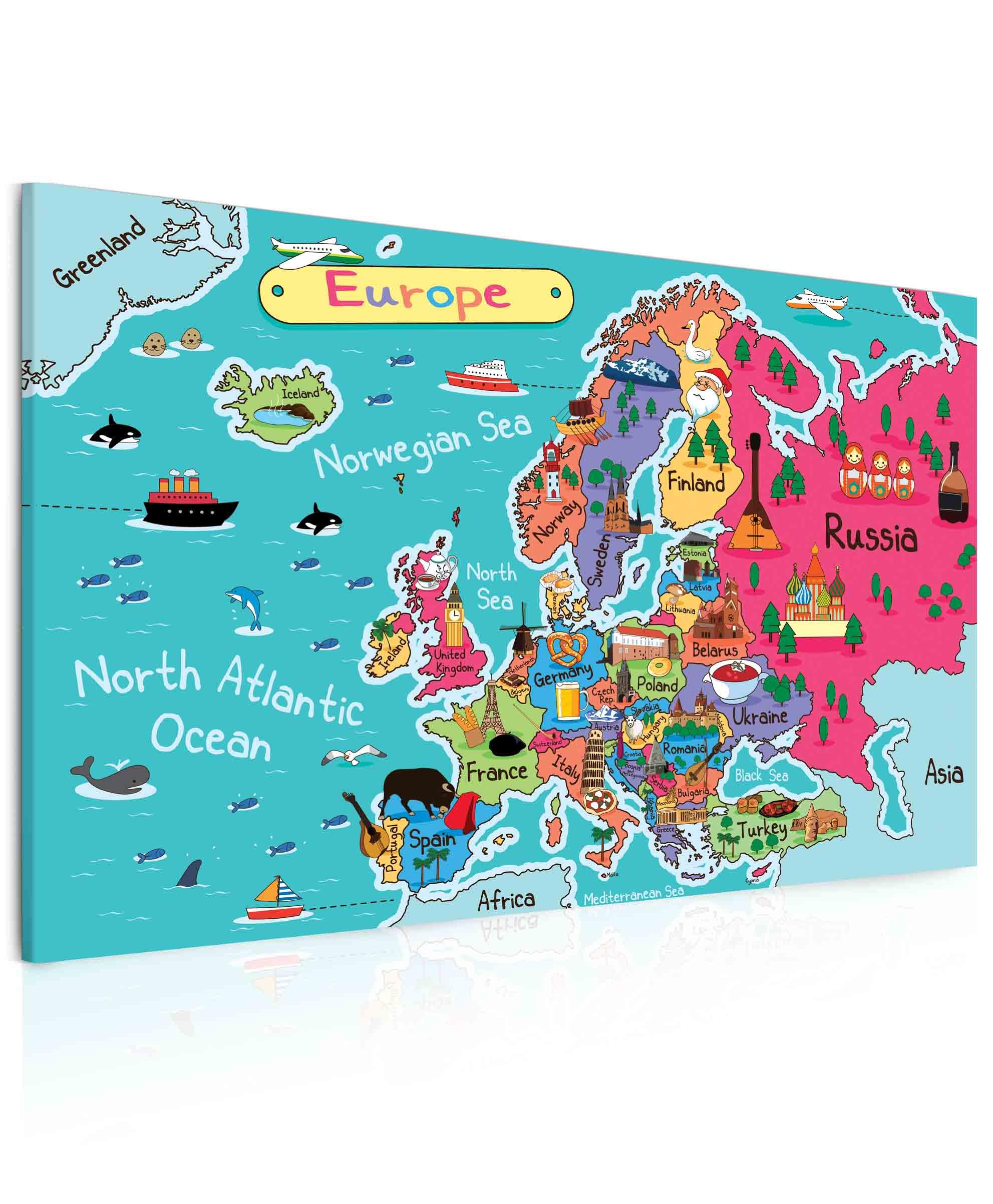 Mapa Evropy pro děti II Velikost: 100x60 cm