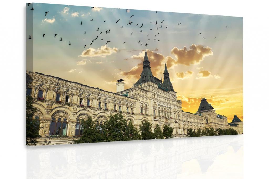 Obraz - Západ slunce za domem Velikost: 60x40 cm