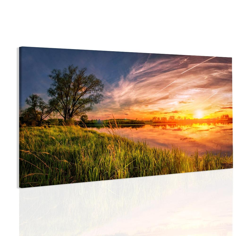 Obraz západ u jezera Velikost: 150x90 cm