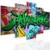 Pětidílný obraz graffiti greenery (Velikost 150x75 cm)
