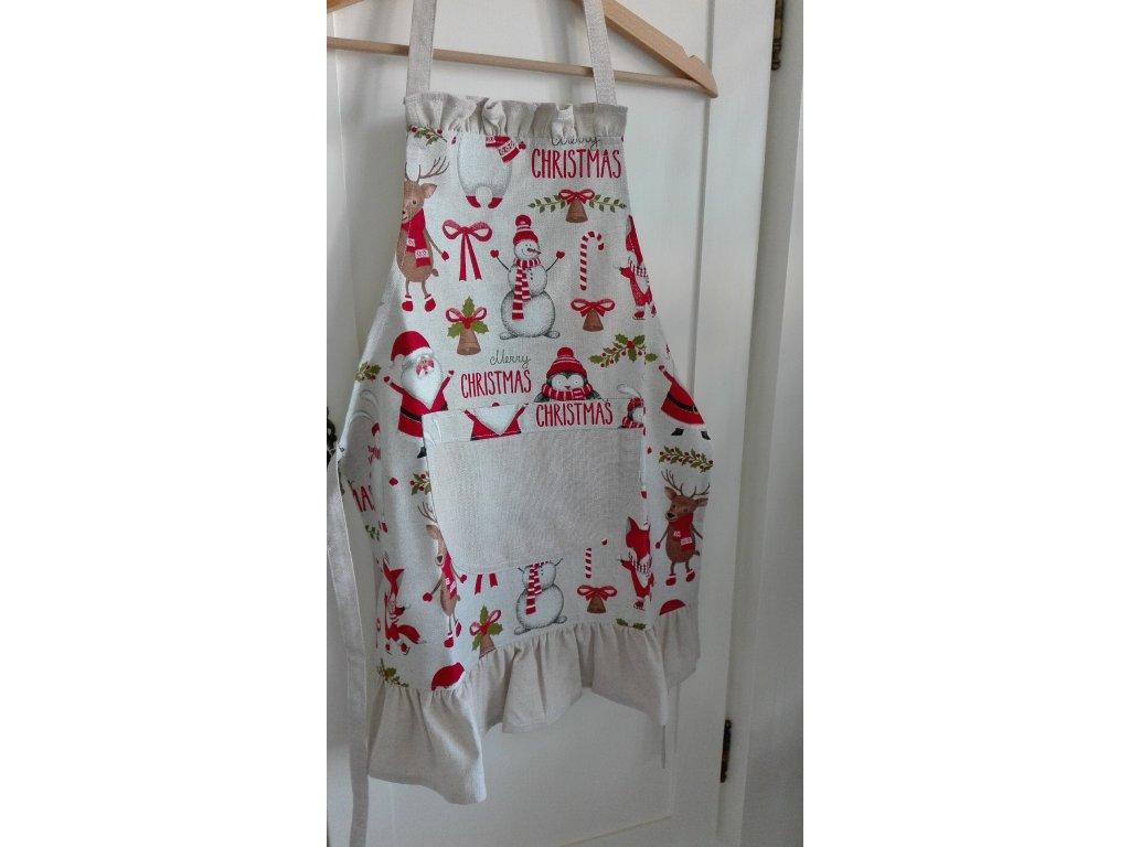 Zástěrka  vánoční zvířátka s kanýrky