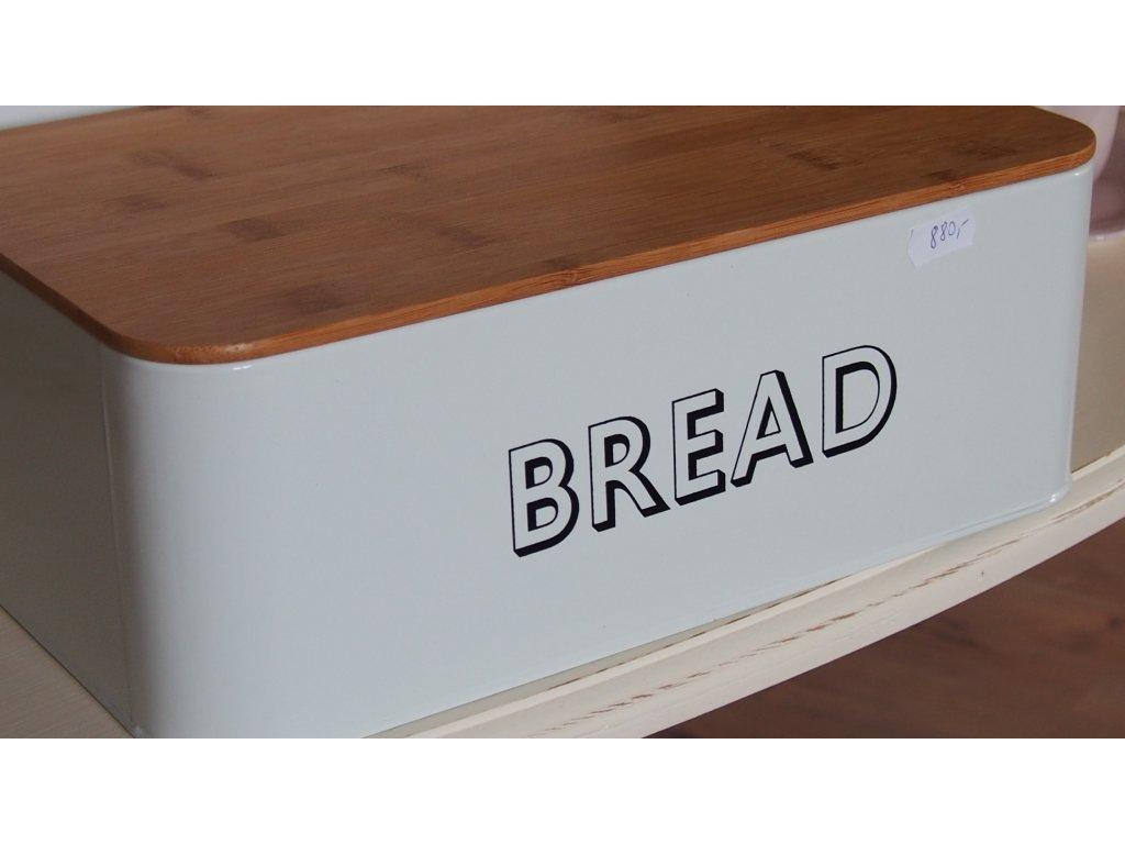 Chlebník s dřevěným poklopem- smetanový