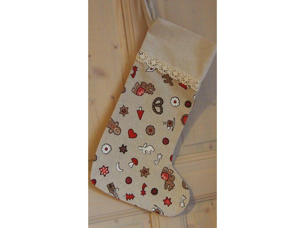 Punčoška vánoční motivy s krajkou