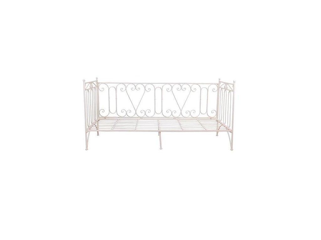 Kovová postel bílá