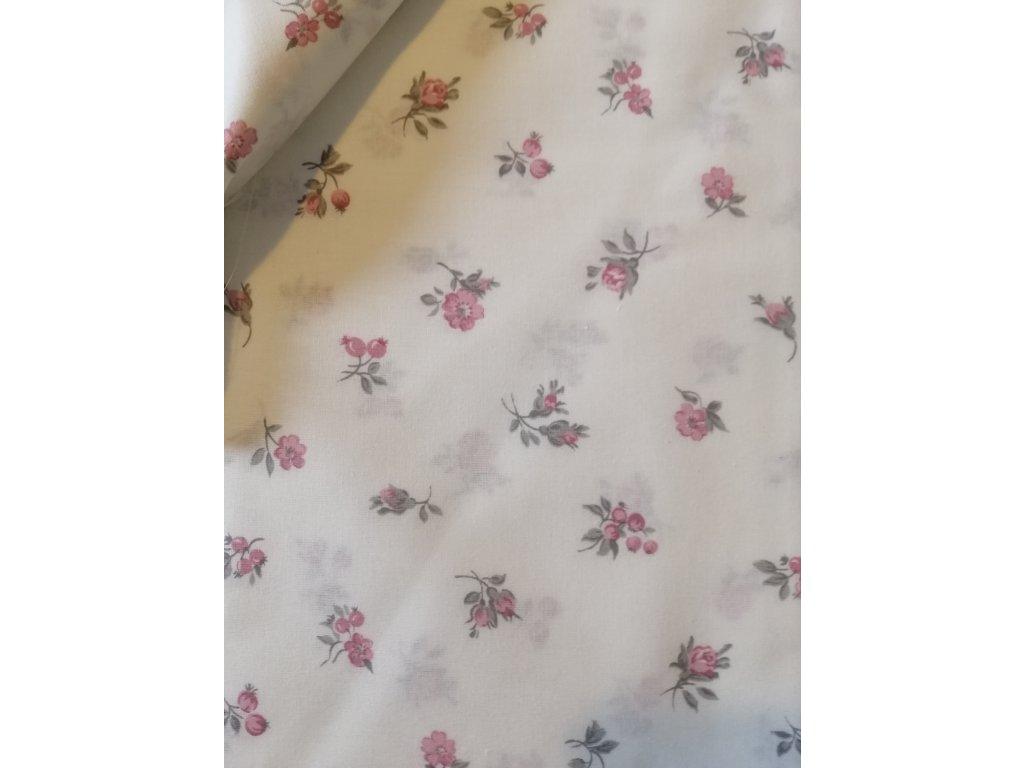 Drobné růžové kvítky na bílé