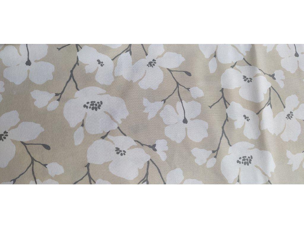 Bílé květy na béžové