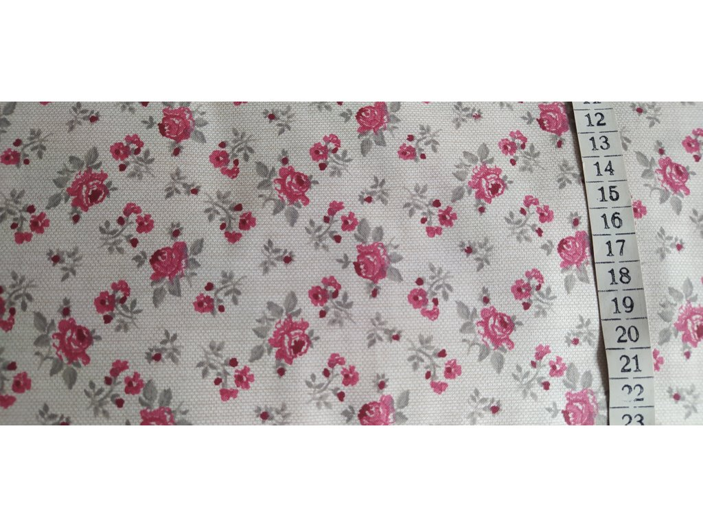 Bordó růžičky na režném podkladu